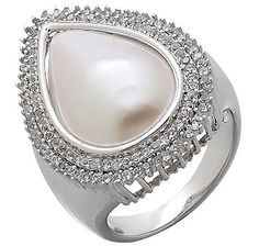 Buy Mabe Pearl & White Topaz Sterling Silver Halo Ring, Pearl Lustreand Rings from The Shopping Channel, Canada's home shopping network-Online Shopping for Canadians