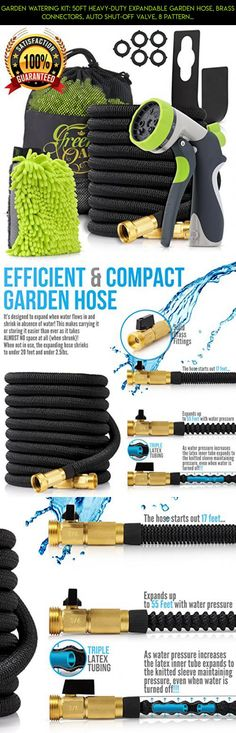 Garden Watering Kit: 50Ft Heavy-Duty Expandable Garden Hose, Brass Connectors, Auto Shut-off Valve, 8 Pattern Spray Nozzle, Metal Hanger, 5 Extra Washers, Mesh Storage Bag + Free Bonuses/Green-Oasis #gadgets #basket #parts #shopping #5 #fpv #kit #racing #plans #camera #drone #storage #tech #products #technology