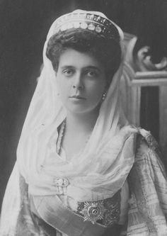 Princess Nicholas of Greece in traditional Greek costume, née Grand Duchess Elena Vladimirovna.