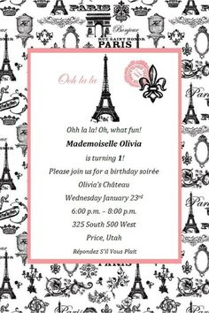 Olivia's 1st Birthday Invitation - Paris Themed