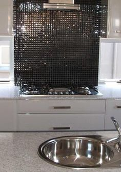 Kitchen Tiles And Splashbacks love the metallic silver mosaic splashback tile | farm - kitchen