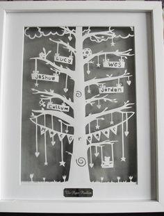 Arbre généalogique Papercut - CUSTOM d'inspiration vintage