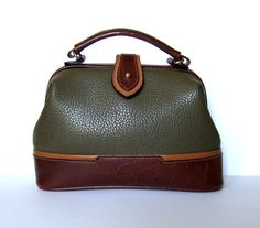 Vintage 80s Olive Green Hand Bag Purse