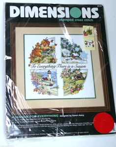 A Season For Everything stamped cross stitch sailcloth kit by Karen Avery. Four seasons collage — winter fall spring summer. Dimensions embroidery needlework retired 1998 wall art. | eBay!
