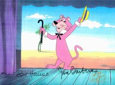 "Hand-painted original production cel of Snagglepuss from the cartoon, ""Yogi the Easter Bear,"" made by Hanna-Barbera Productions in the 1990s. The hand-painted cel is matched with a printed background from the original production art and signed by William Hanna and Joe Barbera. #Snagglepuss"