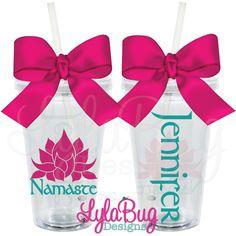 #acrylictumbler #personalizedtumblers #yoga #mantra #lotus #lylabugdesigns #personalizedgifts  Lotus Namaste Tumbler: LylaBug Designs
