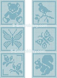 SKU 10366 Crochet square animals embroidery set - A set of 6 free standing lace animals crochet squares. These crochet machine embroidery designs will let you create nice pillow decorations for the kids' room. Crochet Patterns Filet, Crochet Squares, Baby Knitting Patterns, Crochet Motif, Crochet Stitches, Crochet Teddy, Easter Crochet, Baby Blanket Crochet, Crochet Baby