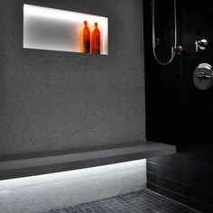 Steam Room Design, Lighting and shelving
