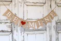 be mine BURLAP banner - Valentines day burlap banner - Valentines day bunting - holiday home decor - Valentine garland