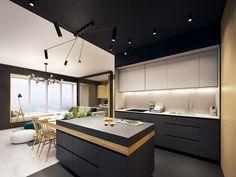 couleur turquoise accent design cuisine îlot central luminaire reglable