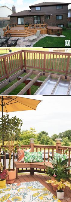 Great Deck Ideas & Designs Cool Diy Projects, Home Projects, Project Ideas, Cool Deck, Diy Deck, Diy Crafts For Gifts, Easy Diy Crafts, Cheap Diy Home Decor, Deck Decorating