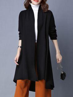 Shop Coats - Black Nylon Simple H-line Cardigan online. Discover unique designers fashion at StyleWe.com.