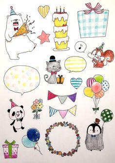お祝い フレークシール Bullet Journal Banner, Bullet Journal Ideas Pages, Bullet Journal Inspiration, Pen Illustration, Japanese Illustration, Cumpleaños Diy, Birthday Doodle, Notebook Art, Card Sentiments
