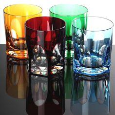 4 Whisky Whiskey Becher Gläser Nachtmann Antika Whiskygläser gelb grün rot blau