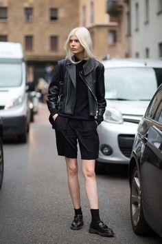 Leather jacket, shorts, socks, loafers.