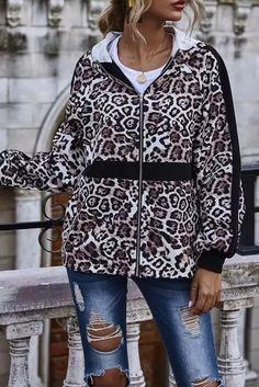 New Autumn and Winter women coats jackets 2020 Leopard Print Panel Hooded Jacket High Street Spliced Full Zipper Black Jacket - #coatsforwomen #coatsforwomenwinter #coatsforwomencasual #coatsforwomenclassy #coatsforwomenclassyelegant #coatsjackets #coatsjacketswomen #coatsforwomen2020 #coatsforwomen2020fashiontrends #streettide Winter Coats Women, Coats For Women, Hooded Jacket, Classy, Elegant, Casual, Jackets, Fashion Trends, Black