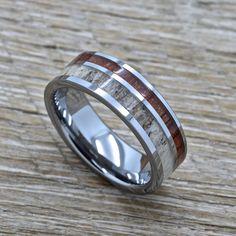 Men's Tungsten Antler Ring With Koa Wood Inlay, 8mm Comfort Fit Wedding Band #RandallScottJewelers #Band