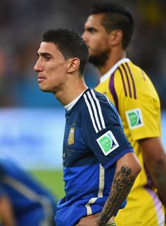 An emotional Angel di Maria of Argentina looks on after being defeated by Germany 1-0 in extra time during the 2014 FIFA World Cup Brazil Final match between Germany and Argentina at Maracana on July 13, 2014 in Rio de Janeiro, Brazil.