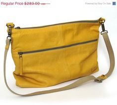SALE Leather bag  Mustard leather classic messenger bag by JUDtlv, $240.55