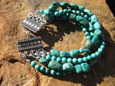 Turquoise Cuff Multi Strand - Fancy Silver Clasp