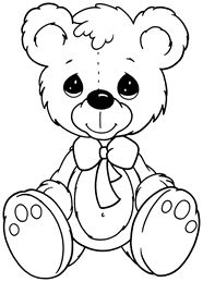 Precious Moments Coloring Pages: Teddy Bear
