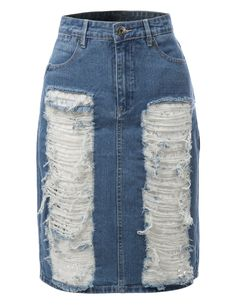 This high high rise distressed denim jean pencil skirt is the new basic that every woman should own. Made from a lightweight and stretchy material for comfort, this skirt goes perfectly with crop tops