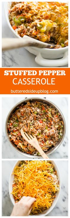 Stuffed Pepper Casserole Recipe - for those of us that can't get enough of the filling in stuffed peppers! | Hotdish recipe | Comfort food | Supper idea | healthy dinner | easy dinner | easy supper | grass-fed beef | ground beef recipe | Cheap meals | Healthy meal ideas