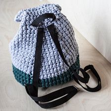 Handmade crochet backpack made of t-shirt (zpagetti, trapillo) yarn. Dimentions: 12X14 (30Х35 cm) We are always open for custom orders! Feel free to contact us and pick your very own color combination or size
