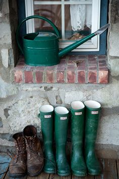 Hunter wellies. I luv seeing my boots next to my hubbies ... esp after weve come in from the countryside
