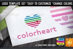 Check out Color Lines Love Heart Logo Template by joyologo on Creative Market
