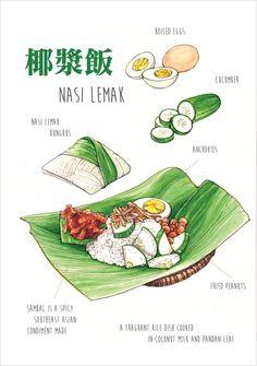 Behance : Nasi Lemak / Food Illustration by Ong Siew Guet Nasi Lemak, Chinese Food, Japanese Food, Image Fruit, Food Sketch, Watercolor Food, Watercolour, Singapore Food, Food Painting