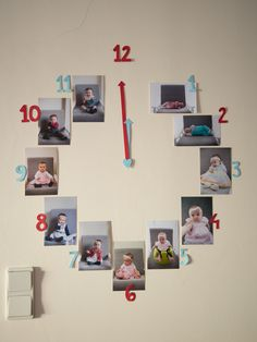 clock with photos from the first year of life; party decoration / red and blue party / first birthday party / one year old