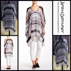 """Poncho Coverup Long Tunic 💟 NEW WITH TAGS 💟 ***Tagged one size fits most  Poncho Coverup Long Tunic Cape Retail Price:$48 ***Tagged one size fits most  * Chiffon fabric w/ beautiful striped print  * A longer length & lightweight for layering; An oversized loose knit fit   * Wide 3/4 long poncho sleeves  * About 33-38"""" long  * Pullover style Fabric: 100% Polyester Color: Black Grey Combo Item:B91500  🚫No Trades🚫 ✅ Offers Considered*✅  *Please use the blue 'offer' button to submit an…"""