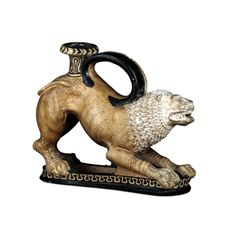An askos (perfume bottle) made of terracotta in the form of a lion. Etruscan, 340-300 BC