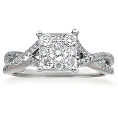 Womens 3/4 CT. T.W. Round White Diamond 14K Gold Engagement Ring ($5,307) ❤ liked on Polyvore featuring jewelry, rings, gold engagement rings, 14k ring, 14k engagement ring, gold jewellery and 14 karat gold ring