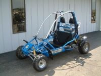 American SportWorks Model 6150 (Blue Lightning) Go Kart.  The American Sportworks 6150 Blue Lightning off-road go kart is a fast and fun go kart for kids ages 13 and older.  With a powerful 150cc 4-stroke engine and automatic transmission, it can travel up to 39mph.  And thanks to hydraulic disc brakes, it can stop on a dime.  The full suspension makes it easy to control.  And for added safety, it is equipped with an adjustable sliding seat and 3-point shoulder/lap belts.