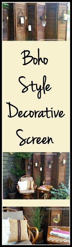 Boho Style Decorative Screen - Find out how I added boho style to my deck by turning a pile of dusty bargain bi-fold doors from the ReStore into a decorative folding screen.