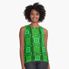 Sophisticated Modern and Elegant Green Square Tiles on Green Distressed Wood Sleeveless Top      #blouse #top #shirt #clothing #fashion #green #distressed #wood #squares #fabric #print