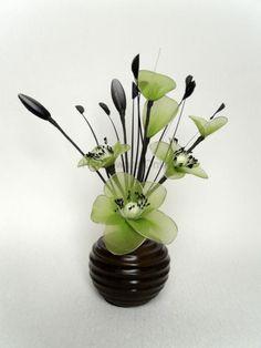 31cm green black silk artificial flower arrangement brown vase decorative gift