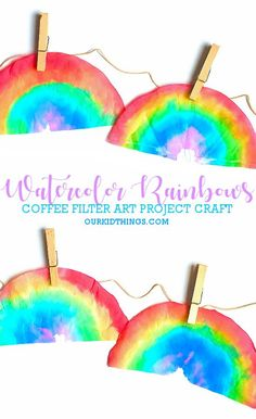 Regenbogen mit Aquarellfarbe - - These Coffee Filter Watercolor Rainbows are such a fun, simple art project that's perfect for St. Patrick's Day and to see you through spring. Spring Art Projects, Easy Art Projects, Spring Crafts, Projects For Kids, Coffee Filter Art, Coffee Filter Crafts, Coffee Filters, Hair Rainbow, Rainbow Art