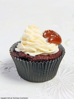 Caramel Filled Chocolate Cupcakes with Vanilla Scented Cream Cheese Frosting and Salted Caramel | My Kitchen in the Rockies
