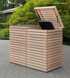 2 x 120 Liter Mülltonnenbox CUBUS - Gasdruckfedern - FSC Hartholz astfrei - Premium-Qualität