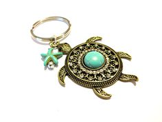 Brass Sea Turtle Keychain Classy Brass Key Ring Pretty Beaded Key Chain Turquoise Turtle and Starfish Keychain Ocean Keychain (16.95 USD) by YoursTrulli