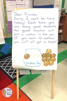 Sub Plans Grade Cookie Themed Teachers, looking for easy to prep sub plans for first grade so you can take a sick day? Check out this link for a full day of emergency sub plans with a cookie theme. Awesome writing, reading, math, and science worksheets First Grade Classroom, Classroom Behavior, Future Classroom, Classroom Activities, Classroom Organization, Classroom Incentives, Learning Activities, Elementary Teacher, Elementary Schools