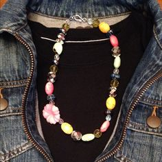 Colorful beaded necklace Beautiful multi colored necklace with pink flower Jewelry Necklaces