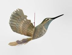 Hand Carved Bird Mobile, Blue Throated Hummingbird Wood Carving, Art Hanging Decor, 5th Anniversary Woodwork, Fan Bird Ornament Wood Craft by MyFanbirds on Etsy