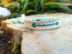 turquoise Arrow Swarovski on cream bracelet, Hot friendship bracelet, women bracelet