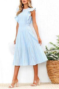 Lace Hollow Fuffled Irregular Midi Dress - - Lace Hollow Fuffled Irregular Midi Dress Dresses Source by Trendy Dresses, Elegant Dresses, Cute Dresses, Casual Dresses, Summer Dresses, Midi Dresses, Blue Midi Dress, Affordable Dresses, Midi Skirts
