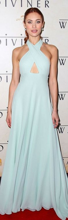 Prada pale blue halter neck gown with keyhole cut out