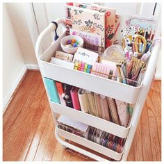 Feeling the happy weather today 😎 Would anyone be interested in a planner cart… Study Room Decor, Cute Room Decor, Room Ideas Bedroom, Bedroom Decor, Ikea Raskog, Raskog Cart, Aesthetic Room Decor, Desk Organization, Organizing